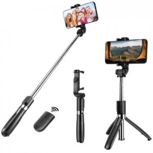 3 in 1 Selfie Stick Tripod - Zwart - Smartphone Vlog Tripod (Merkloos)