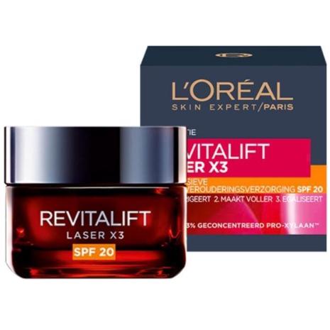 L'Oréal Paris Skin Expert Revitalift Laser X3 anti-rimpel dagcrème SPF 20 voor de oudere huid